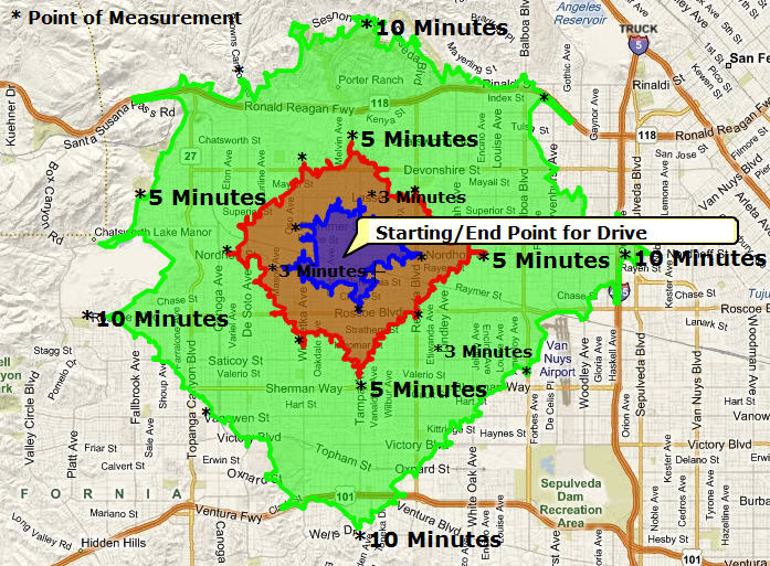 Restaurants for Lease Drive-Time Map