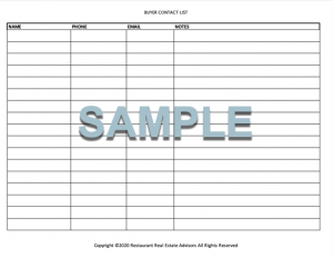 BUYER CONTACT LIST FORM