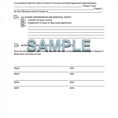 CONTINGENCY REMOVAL FORM