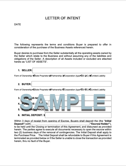 LETTER OF INTENT TO PURCHASE FORM